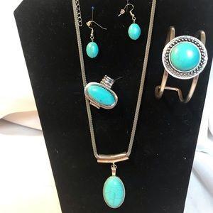 Paparazzi 5 piece set of faux Turquoise Jewlery